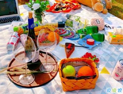 春日野餐文案 周末和朋友一起的野餐说说心情短语2